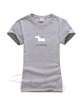 Tricou I am Unicorn Gri